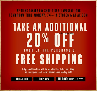 Canadian Daily Deals American Eagle Canada Extra 20 Off Free Shipping Coupon Code June 30 July 4