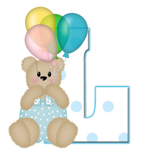 Abecedarios de Osita de Peluche con Globos. Teddy Bear with Balloons Alphabet.