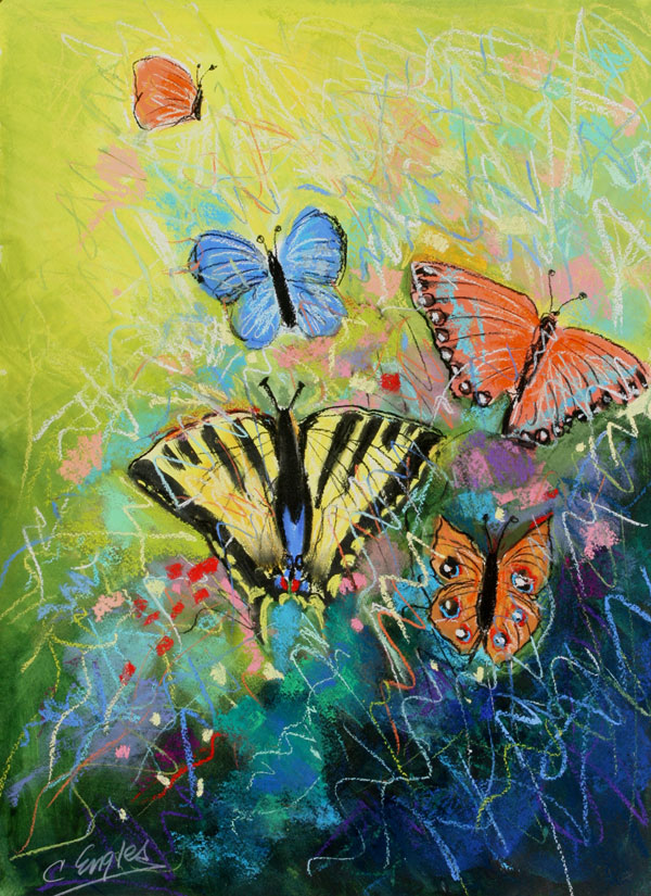 Carol Engles Art: Butterflies One, abstract painting by ...