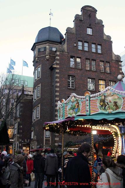 Christmas Market Gerhart-Hauptmann-Platz Hamburg Germany merry go round