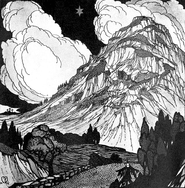 Clifford J. Beese 1915 ink drawing of a mountain