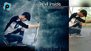 Devil Inside Action Movie Poster With Rain Effect