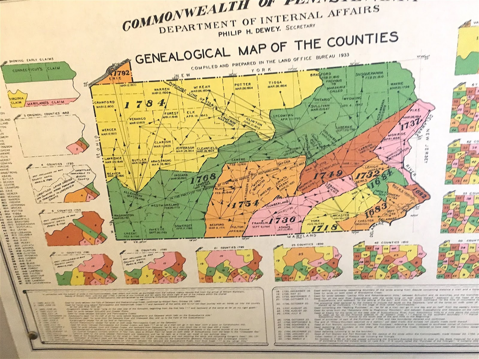 this is a colorful map on the wall in pottsville that shows the west ward migration from the 1600 s near philadelphia in pre colonial times to the