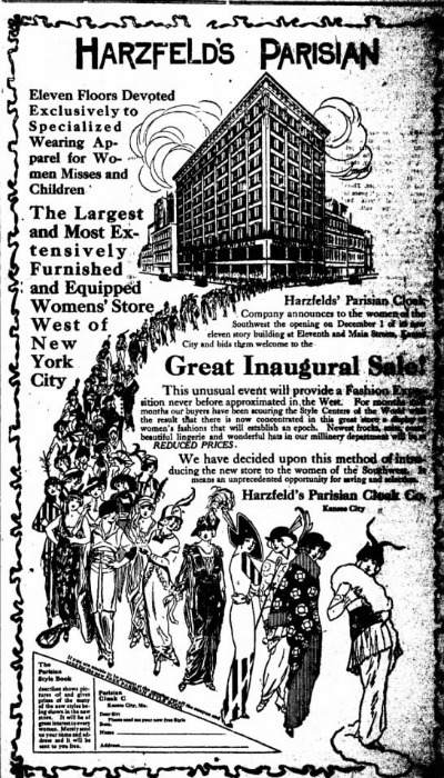 1913 newspapar ad showing fashionably dressed women in front of the 13 floor Harzfeld's Department
