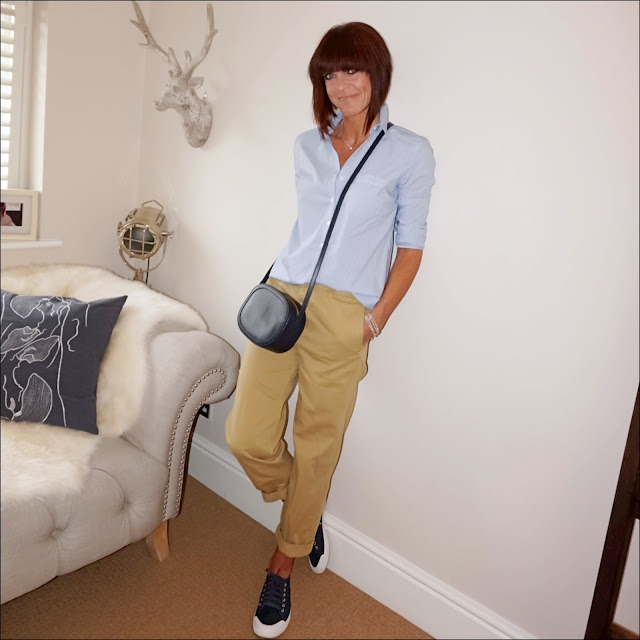My Midlife fashion, j crew boyfriend distressed chinos, j crew tretorn canvas sneakers, baukjen thompson stripe shirt, iris and ink leather shoulder bag