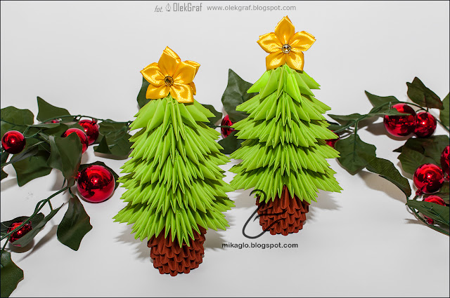 618. Choinki z origami / 3d origami christmas trees