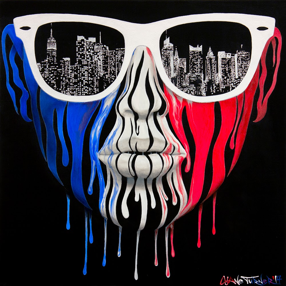 Surreal Urban pop art painting of a girls face made of dripping red white and blue paint, wearing white ray ban wayfarer sunglasses with the reflection of New York city skyline in the lenses. Painted in acrylics in the colors of the american flag.