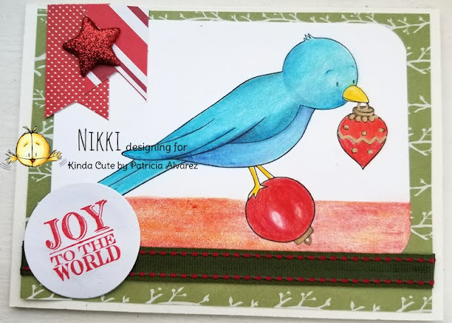 Christmas card using Christmas bird digital stamp