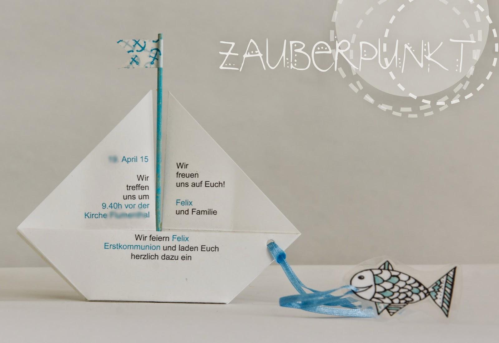 amazing kommunions einladungskarten #3: Kommunions- Einladungskarte Faltschiff { Videoanleitung }