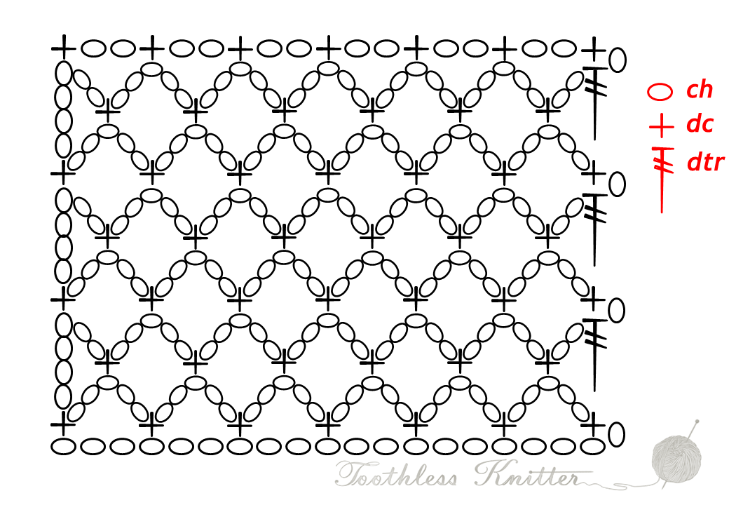 Lace Stitch: Diamond Mesh Stitch / Splot Ażurowy: Siatka z Rombów