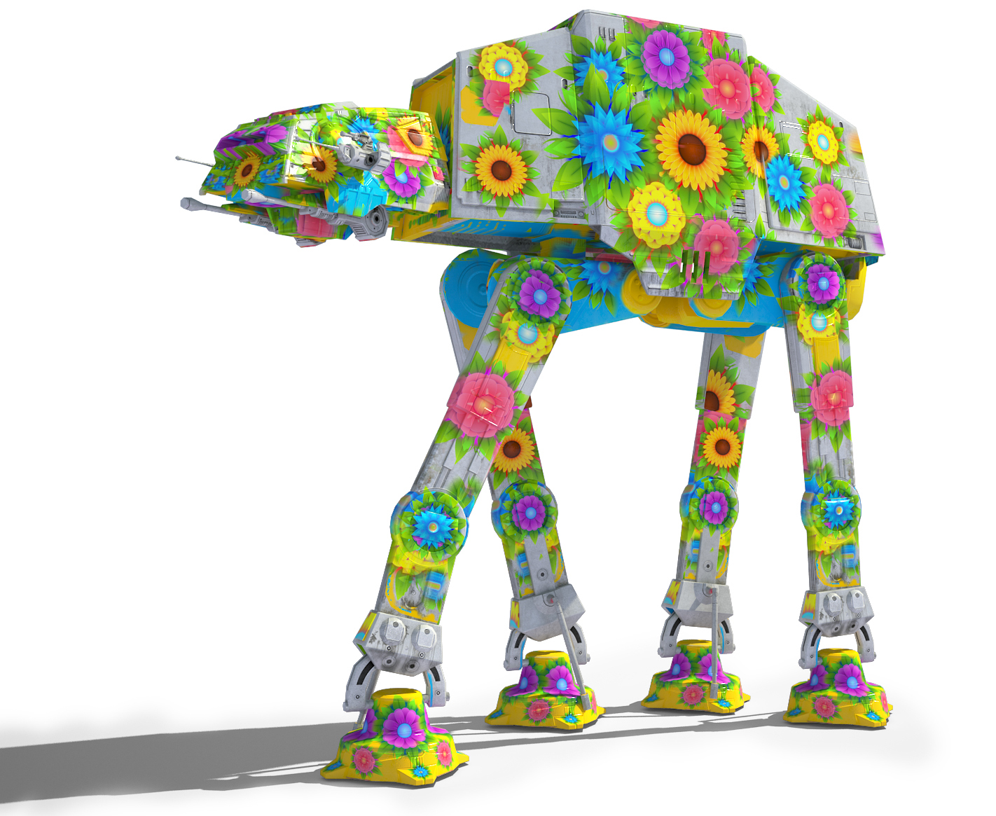Game Ready Star Wars AT-AT Imperial Walker 3D model - Flowery skin