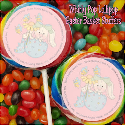 Create a fun and yummy Easter basket stuffer with these Whirly pop lollipop labels.  They are so easy to make and make great party favors or little gifts for everyone on the Easter bunny's list this year. #easter #easterbasket #easterfavor #candy #diypartymomblog