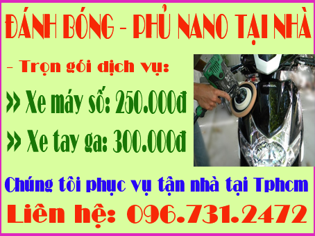 Đánh bóng xe - Phủ Nano xe máy tại nhà khu vực Tphcm