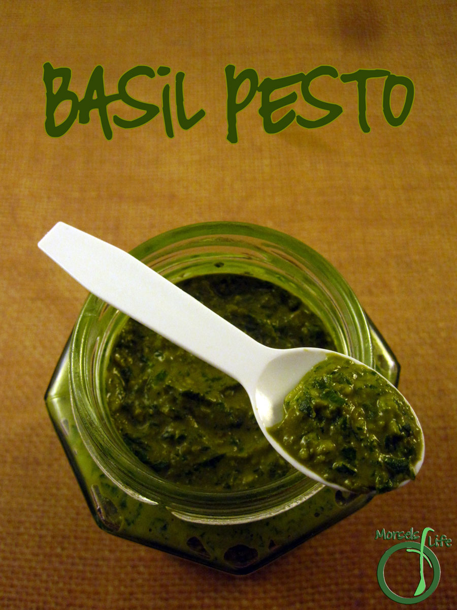 Morsels of Life - Basil Pesto - A simple basil pesto made from fresh basil, garlic, and Parmesan cheese.