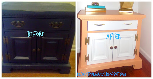 CORAL AND WHITE NIGHTSTAND REMAKE