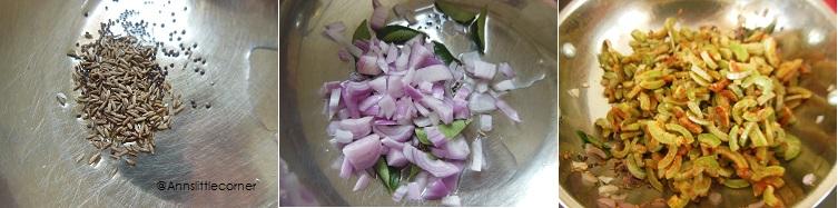 How to make Pudalangai Poriyal - Step 3