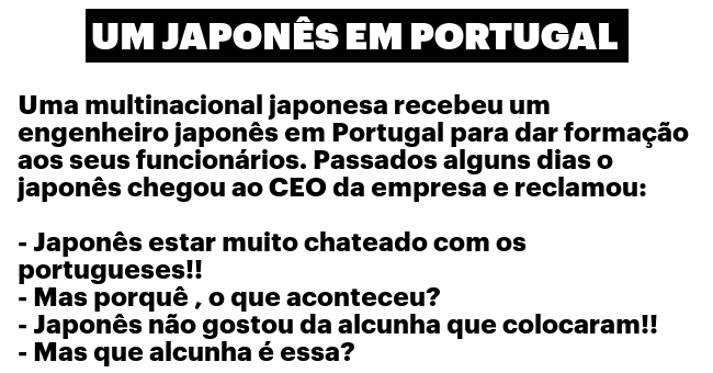 Um japonês em Portugal...