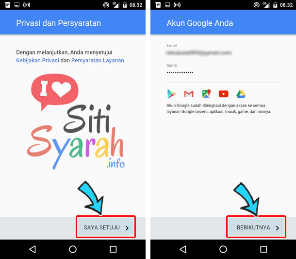 merubah email android