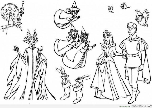 Tranh tô màu công chúa và hoàng tử