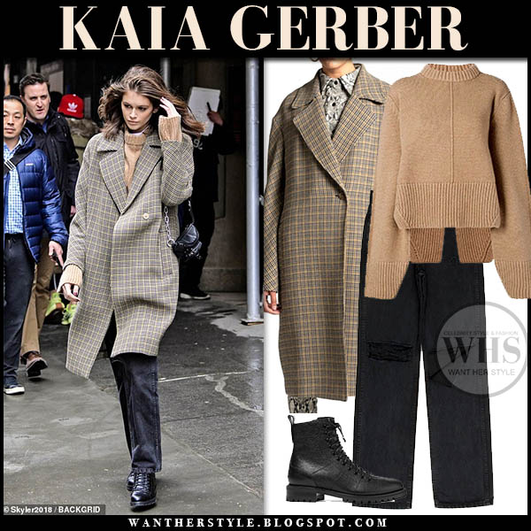 Kaia Gerber wearing beige check houndstooth A.L.C. coat and black jeans New York Fashion Week outfits february 2019