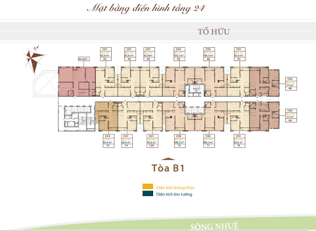 Mặt bằng tầng căn hộ điển hình tầng 24