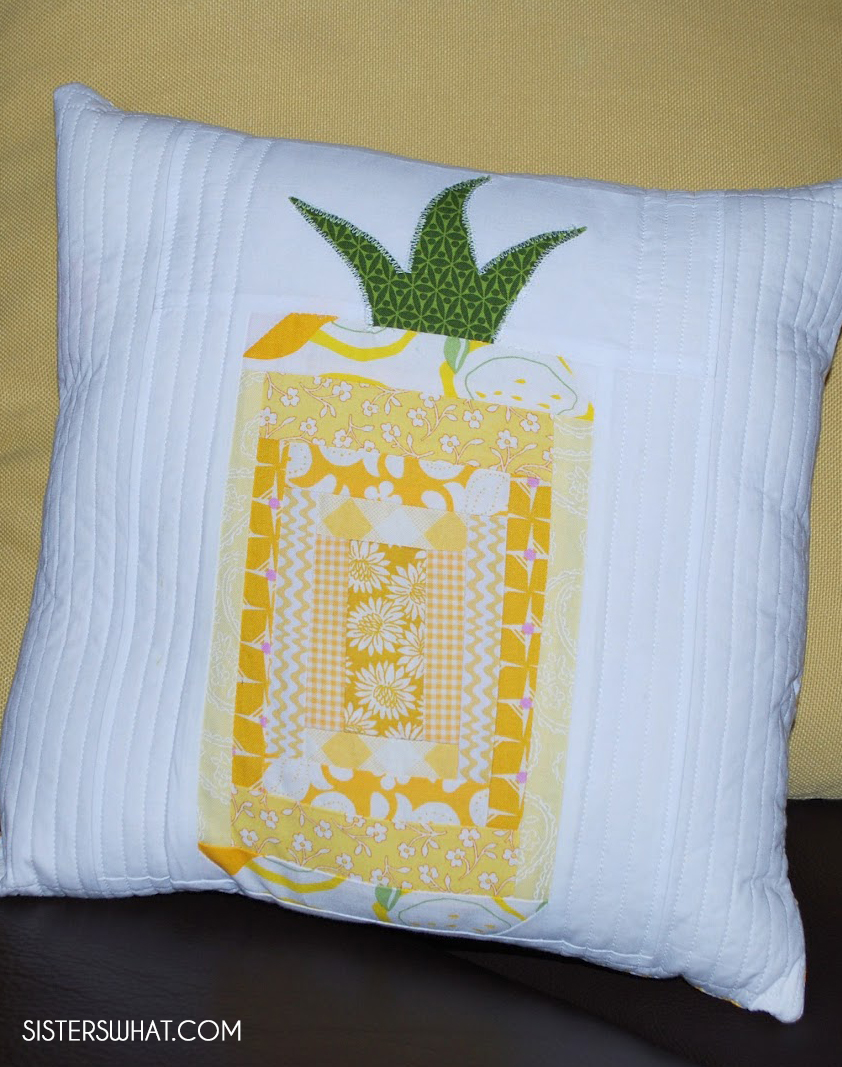 quilted log cabin pineapple pillow