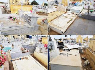 Em Jardim do Seridó, cruzes, lápides e túmulos são destruídos durante tentativa de furto de caixa d'água no cemitério da cidade