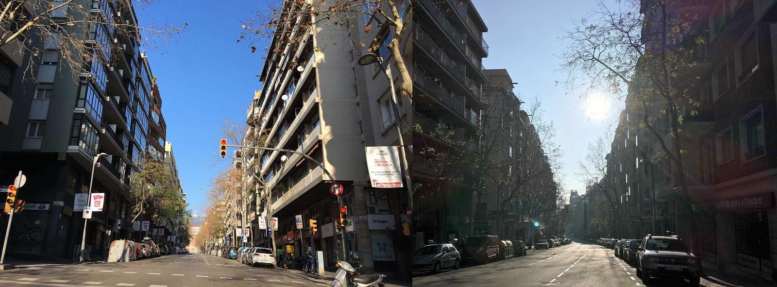 Calle Aribau (Barcelona), 1 de enero de 2020