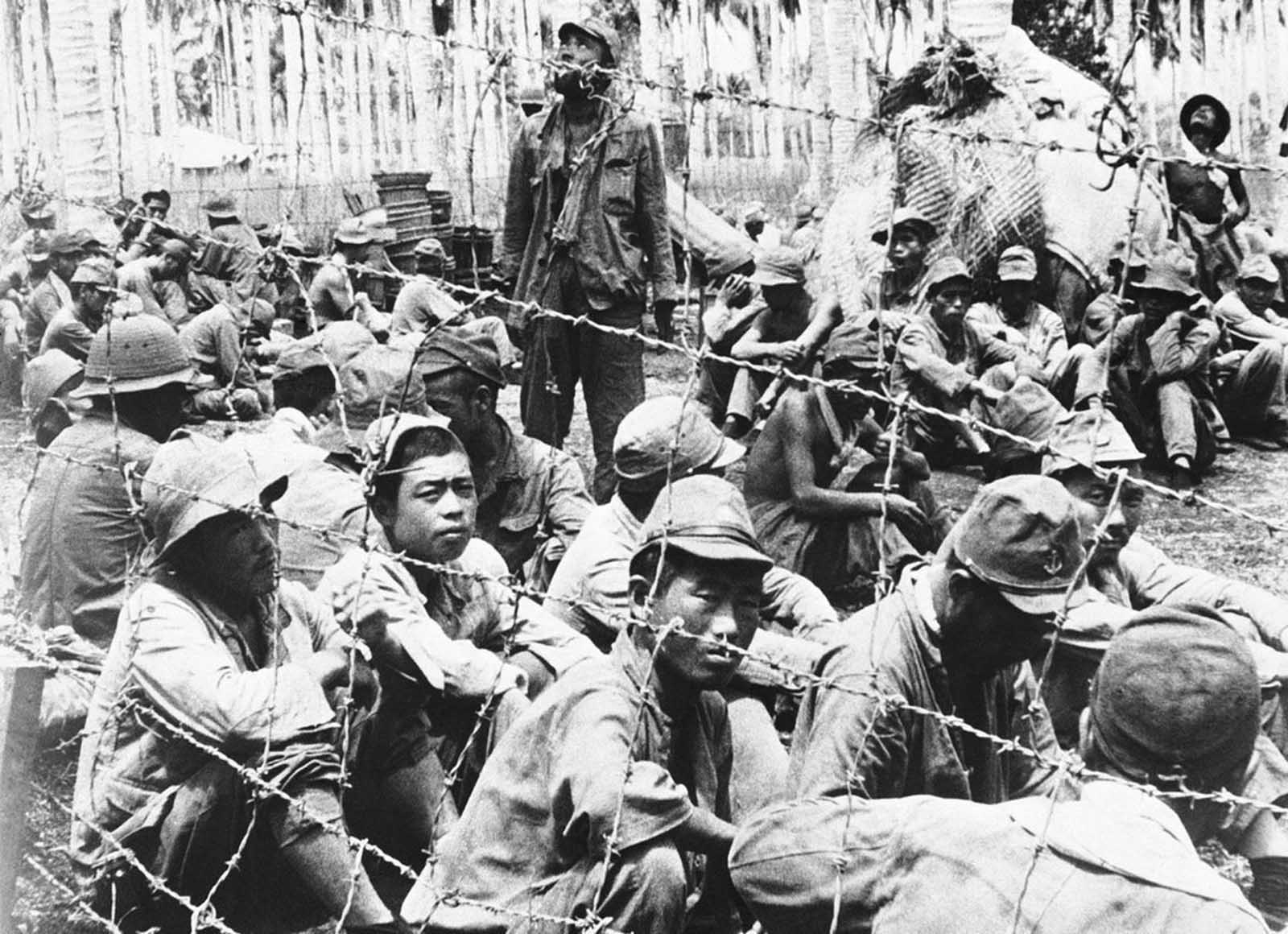 These Japanese prisoners were among those captured by U.S. forces on Guadalcanal Island in the Solomon Islands, shown November 5, 1942.