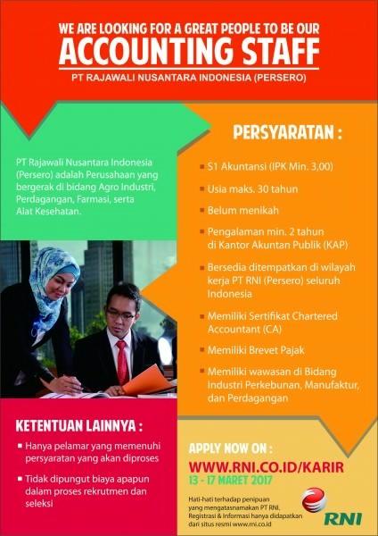 Lowongan Kerja BUMN PT Rajawali Nusantara Indonesia (Persero) Maret 2017