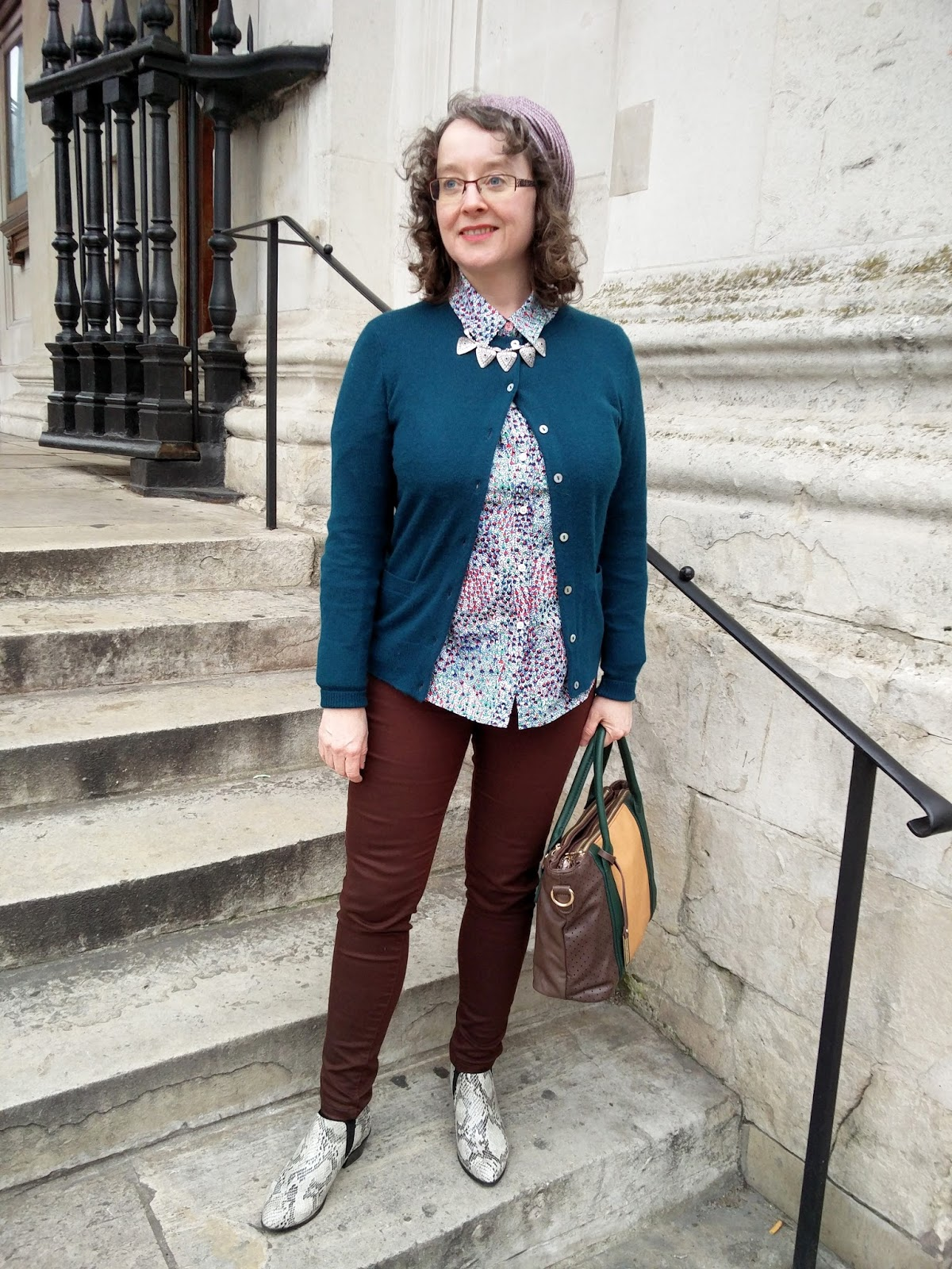 Teal Cardigan, Boden Petite Shirt. New Look Necklace | Petite Silver Vixen