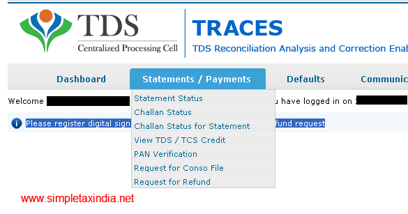 Refund application on form 26B for excess tds deposited