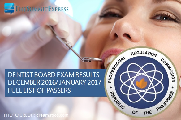 December 2016, January 2017 Dentist board exam results
