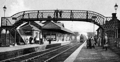 Old photograph of the railway station in Annan, near Dumfries, Scotland. This Scottish railway station...