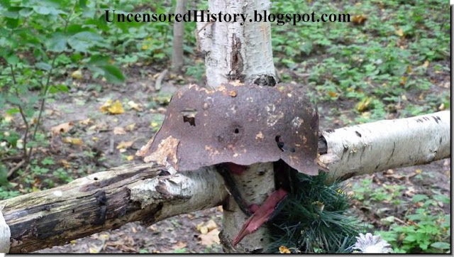 East prussia today rusted helmet grave german soldier