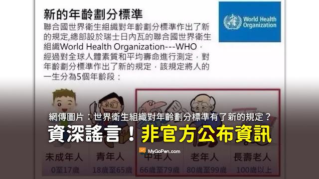 聯合國世界衛生組織對年齡劃分標準作出了新的規定 青年人-18歲到65歲 謠言