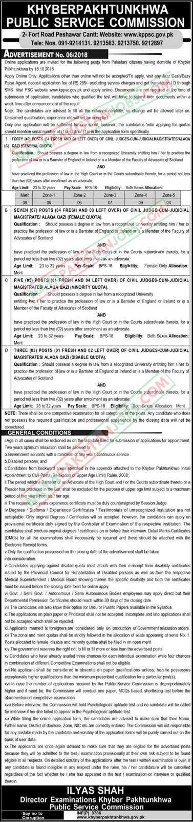 .Latest Vacancies Announced in Khyber Pakhtunkhwa Public Service Commission KPPSC 30 September 2018 - Naya Pak Jobs