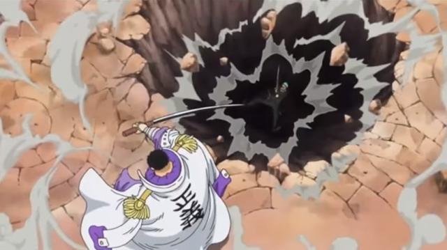 zoro bị đô đốc hổ tím đánh bay xuống hố sâu