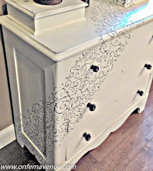 On Fern Avenue.shared her beautiful Pine Dresser Makeover featured at One More Time Events.com