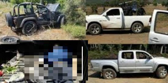 Vídeo; Momento del fuerte enfrentamiento que dejó a seis sicarios y un policía abatidos en Tingüindín, Michoacán
