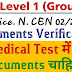 RRB Group D  Recruitment CEN 02/2018 All Documents Required For DV and Medical Test from 1st Week of April