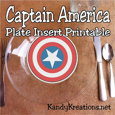 Celebrate America at your Patriotic party or Avengers party with this easy Captain America shield plate insert free printable. Simply print, cute, and tape to the bottom of a clear plate for a fun addition to your next party.