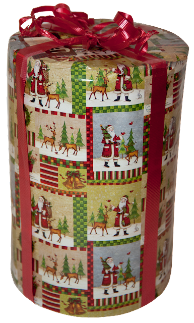 A tall, round, metal tin with Christmas pictures on it, wrapped with a red gift ribbon.