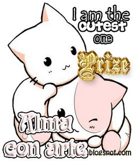 Dibujo de dos gatos jugando y un mensaje que dice: i am the cutest one prize, Alma con Arte, y la url de un blog.