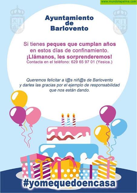 El Ayuntamiento de Barlovento quiere felicitar a los niños que cumplan años durante el confinamiento