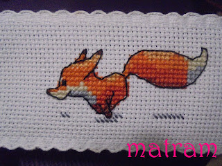 zakładka haft krzyżykowy lis