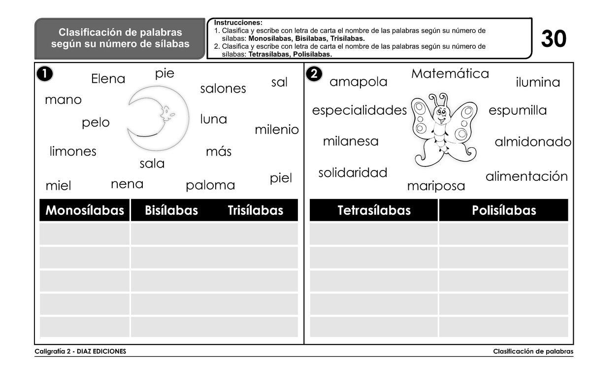 COLORIN COLORADO. 3º DE PRIMARIA: Actividades de ampliación clasificación  de la palabras según sus sílabas