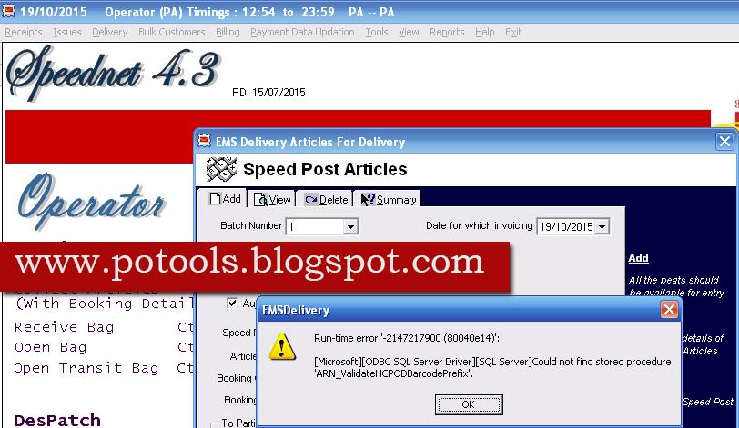 Invoice Speed Post Article Error In Speed Net PO TOOLS - Speed invoice