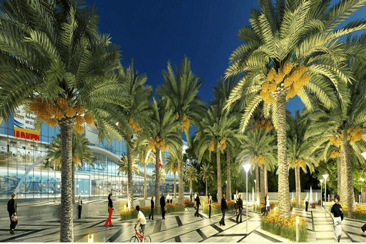 Quảng trường ánh sáng trước trung tâm thương mại
