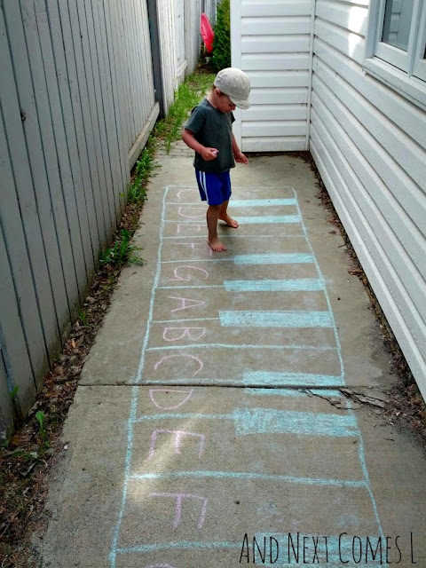 Outdoor music theory games for kids using a giant chalk keyboard